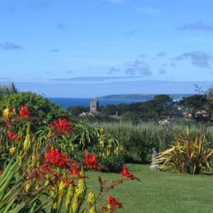 June garden diary for Ednovean Farm - lovely view over garden