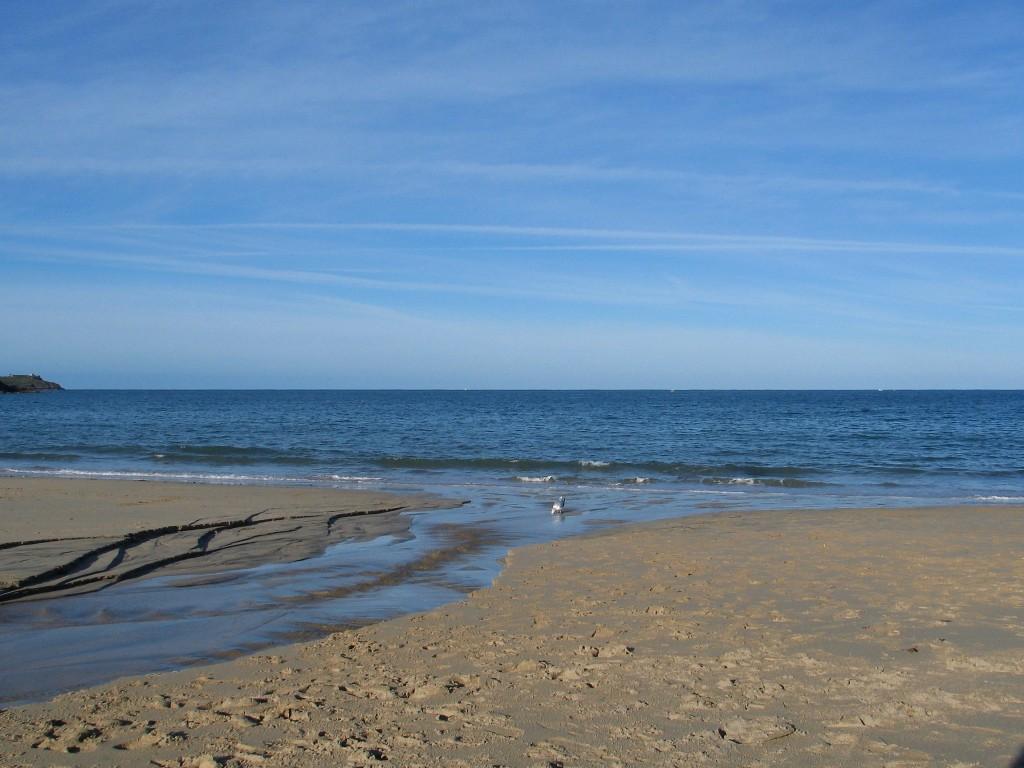 A river cutting through the beach sands
