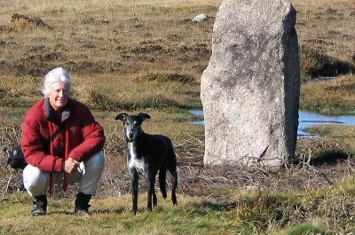 Penwith moors in wintertime - standing stone crouching woman and lurcher