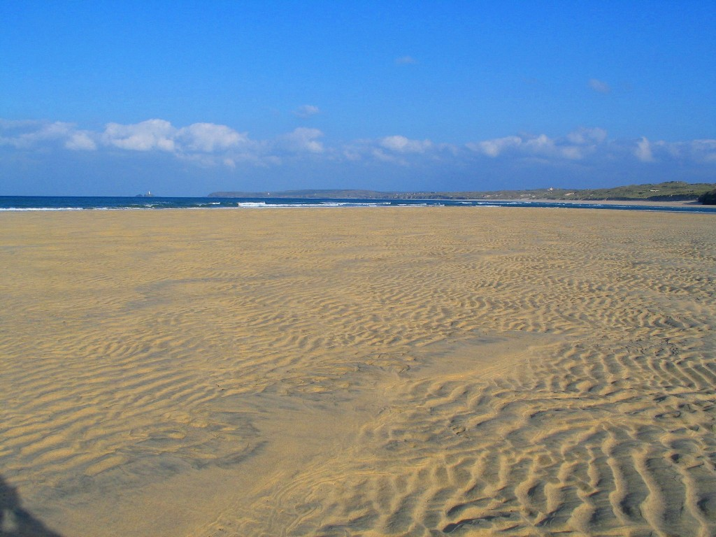 Expanse of exposed sands at low tide