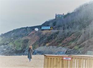 Train above a beach