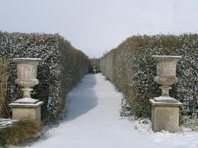 Formal garden in the snow -central aisle - Italian Garden Ednovean Farm