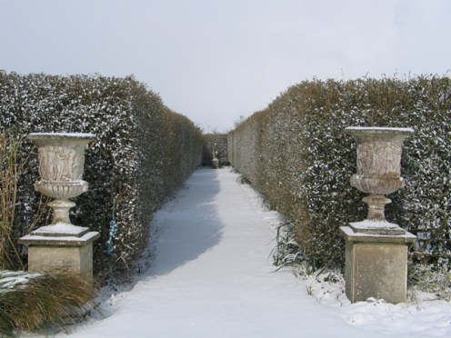 Formal garden in the snow -central aisle - Italian Garden Ednovean Farm