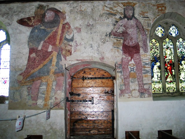 frescoes of st christopher carrying the Christ child and The warning to the sabbath breakers