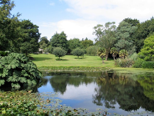 Lake set in parkland with fruit trees