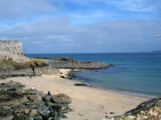Sandy cove of Bamaluz on a sunny day in St Ives