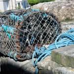 Lobster pot on a granite harbour wall -Lamorna