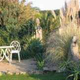 Garden entrance flanked by pampas