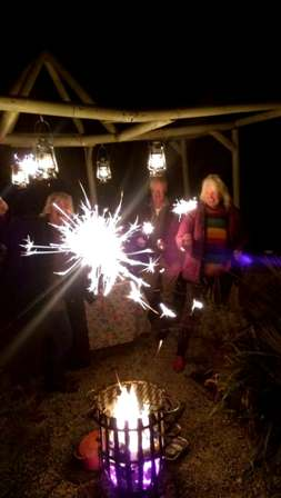 sparklers at our Bonfire party