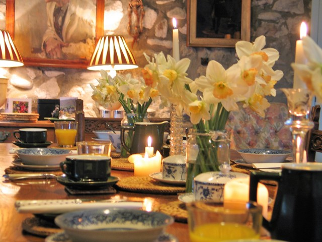 Breakfast table with flowers and candles - info Breakfast
