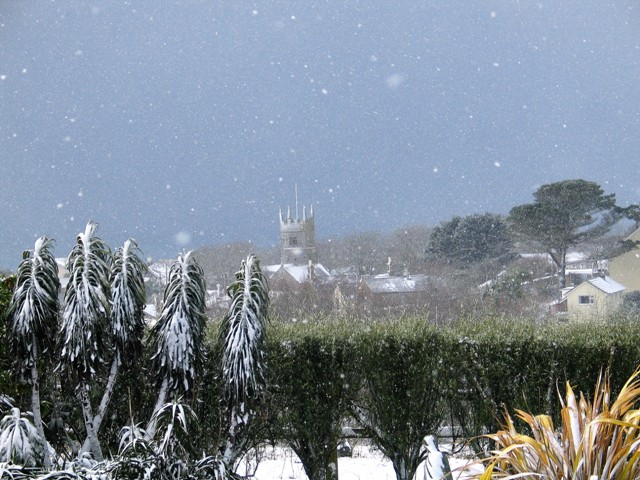Perranuthnoe church in the snow - Christmas card