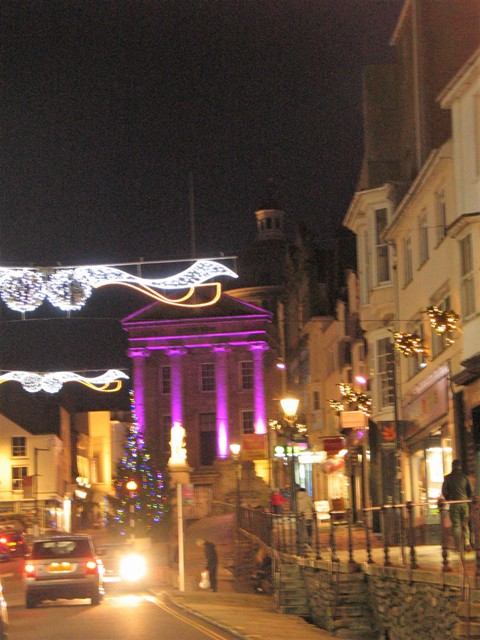 Christmas lights and bustle Penzance