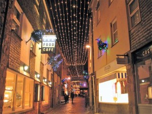 Christmas lights in a shopping street St Ives