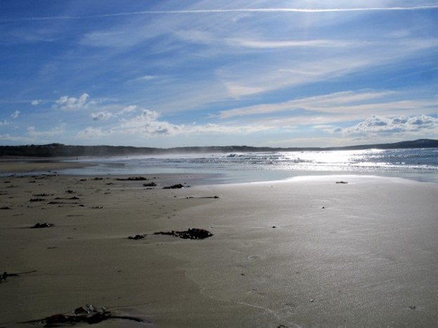 empty expanse of beach stretching to the horizon