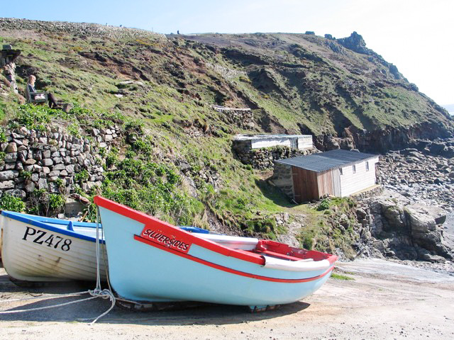 Fishing boat on slipway Priest's cove