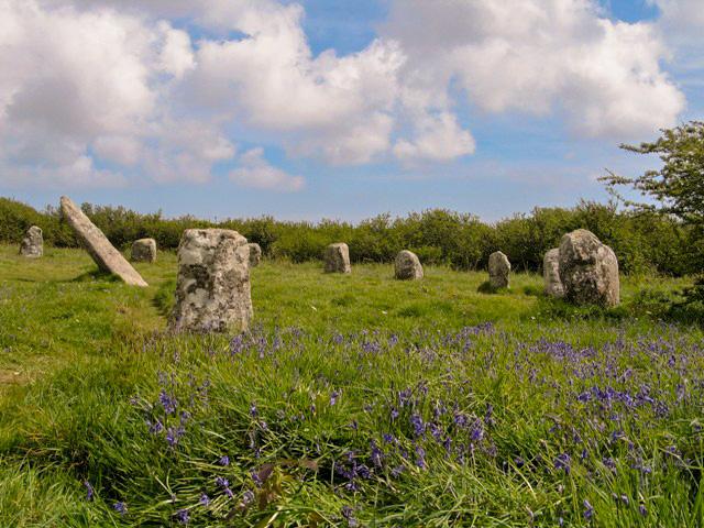 bluebells surround a cornish stone circle in springtime