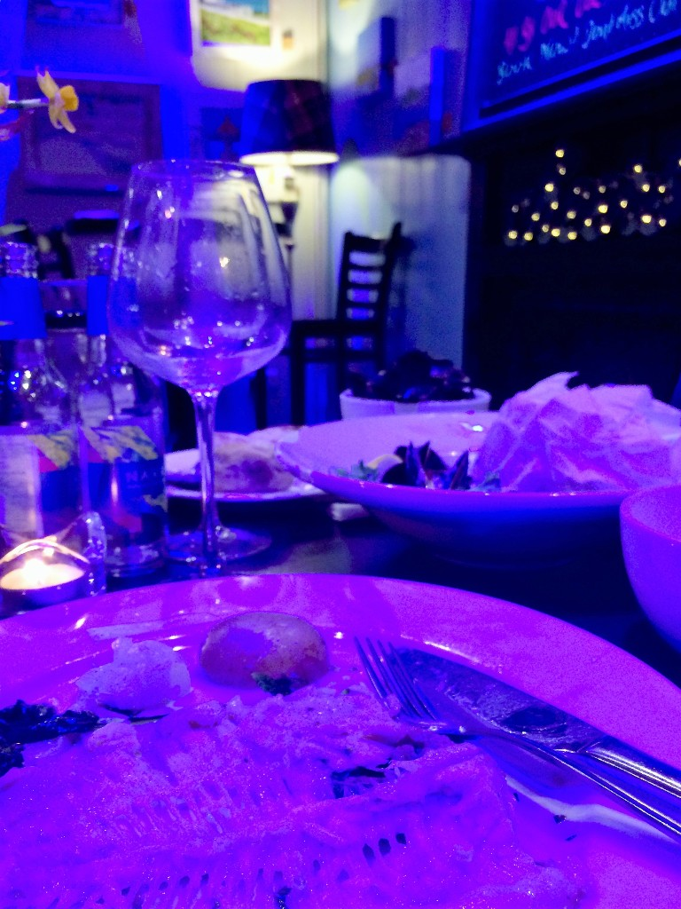 Empty plates at Black's restaurant