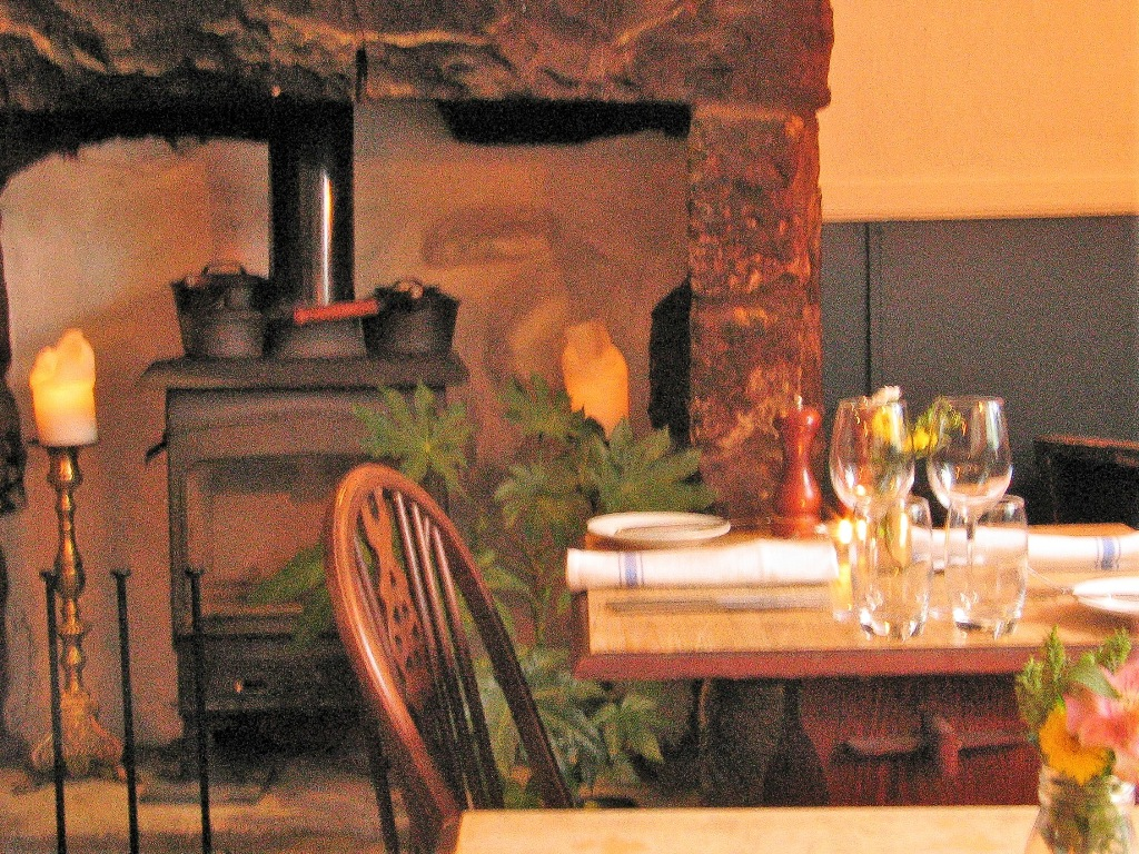 Traditional style with contemporary country chic - dining room for a pub supper in the Victoria Inn Perranuthnoe