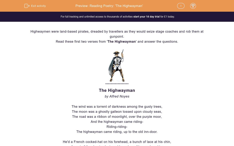 Reading Poetry The Highwayman Worksheet