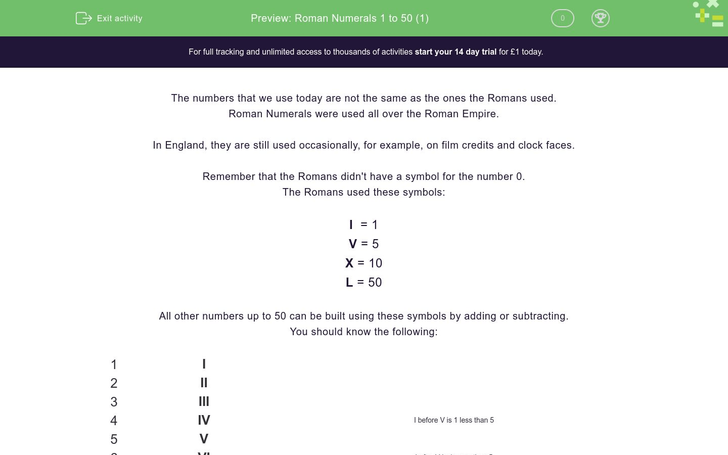 Roman Numerals 1 To 50 1 Worksheet