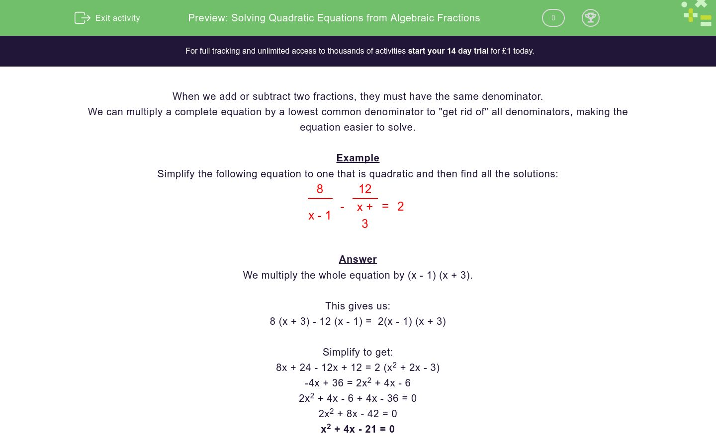 Solving Quadratic Equations From Algebraic Fractions Worksheet