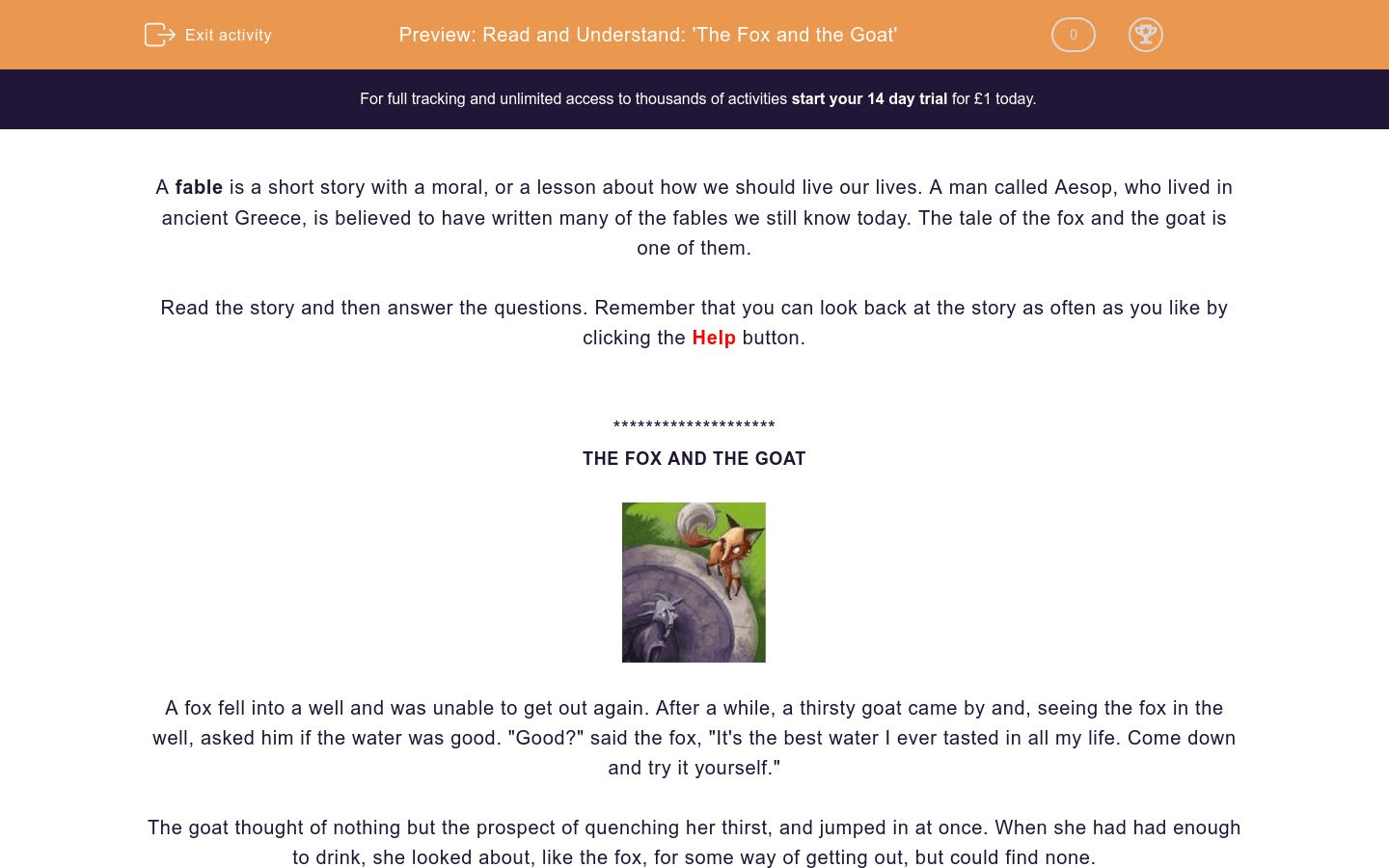 Read And Understand The Fox And The Goat Worksheet