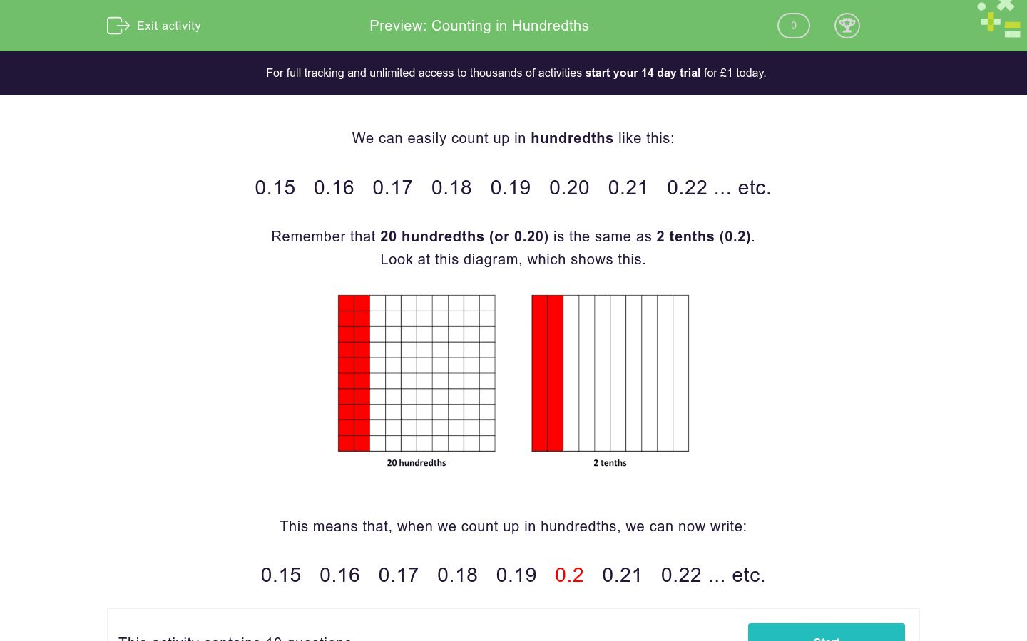 Worksheet Counting By Tenths