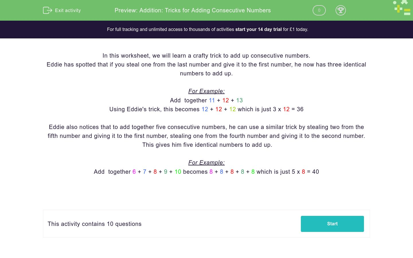Addition Tricks For Adding Consecutive Numbers Worksheet