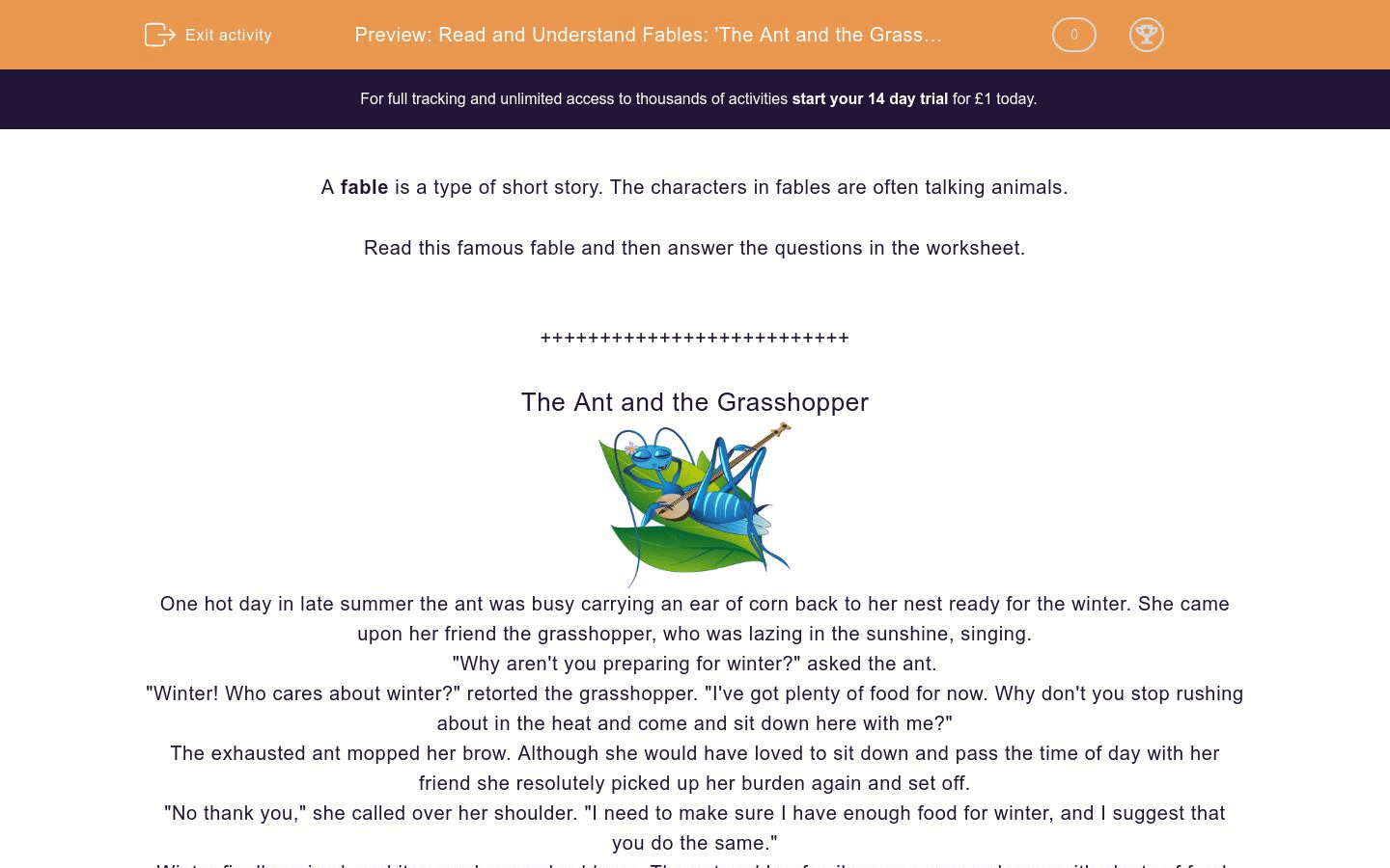 Read And Understand Fables The Ant And The Grasshopper