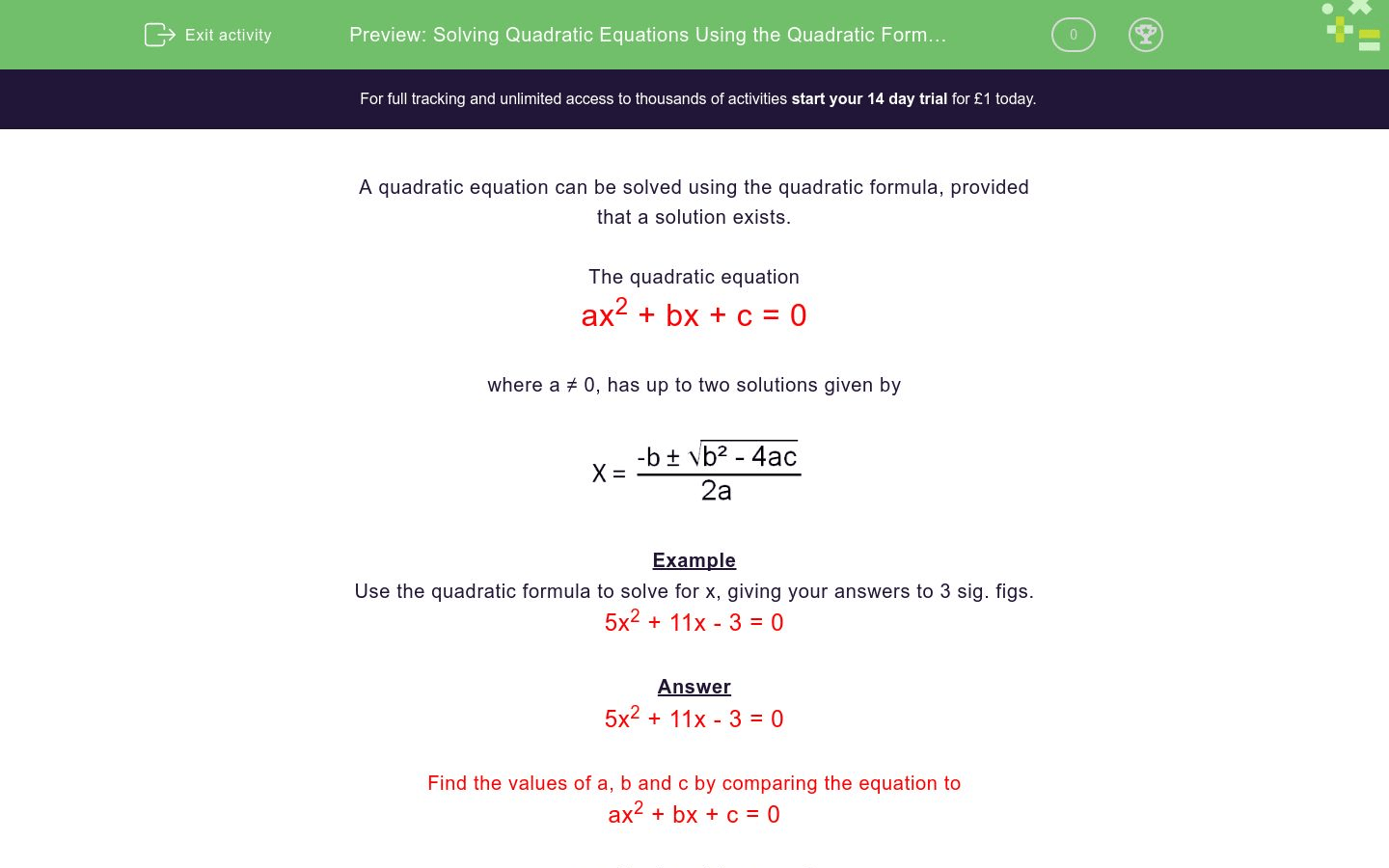 Solving Quadratic Equations Using The Quadratic Formula 2 Worksheet
