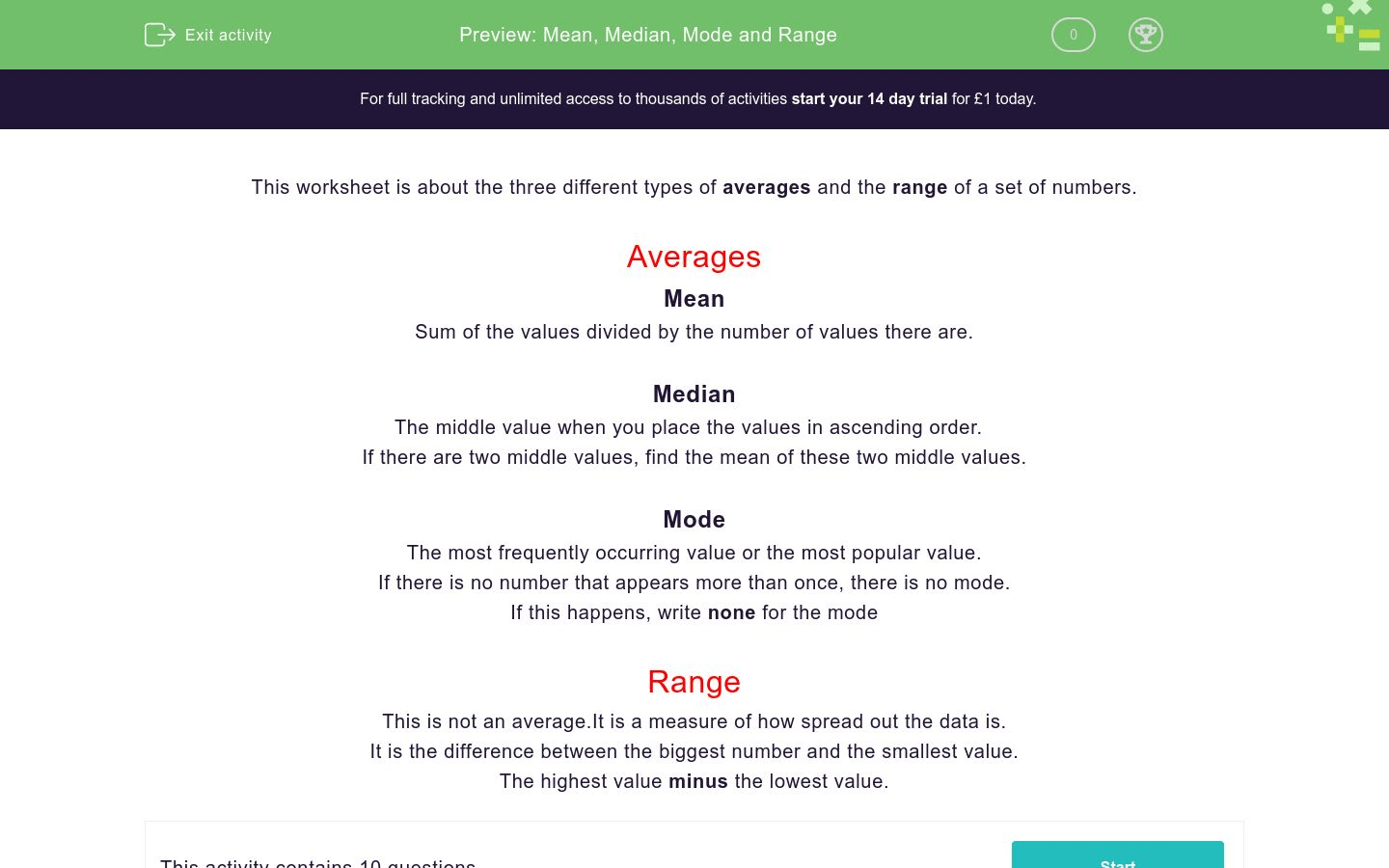 Mean Median Mode And Range Worksheet
