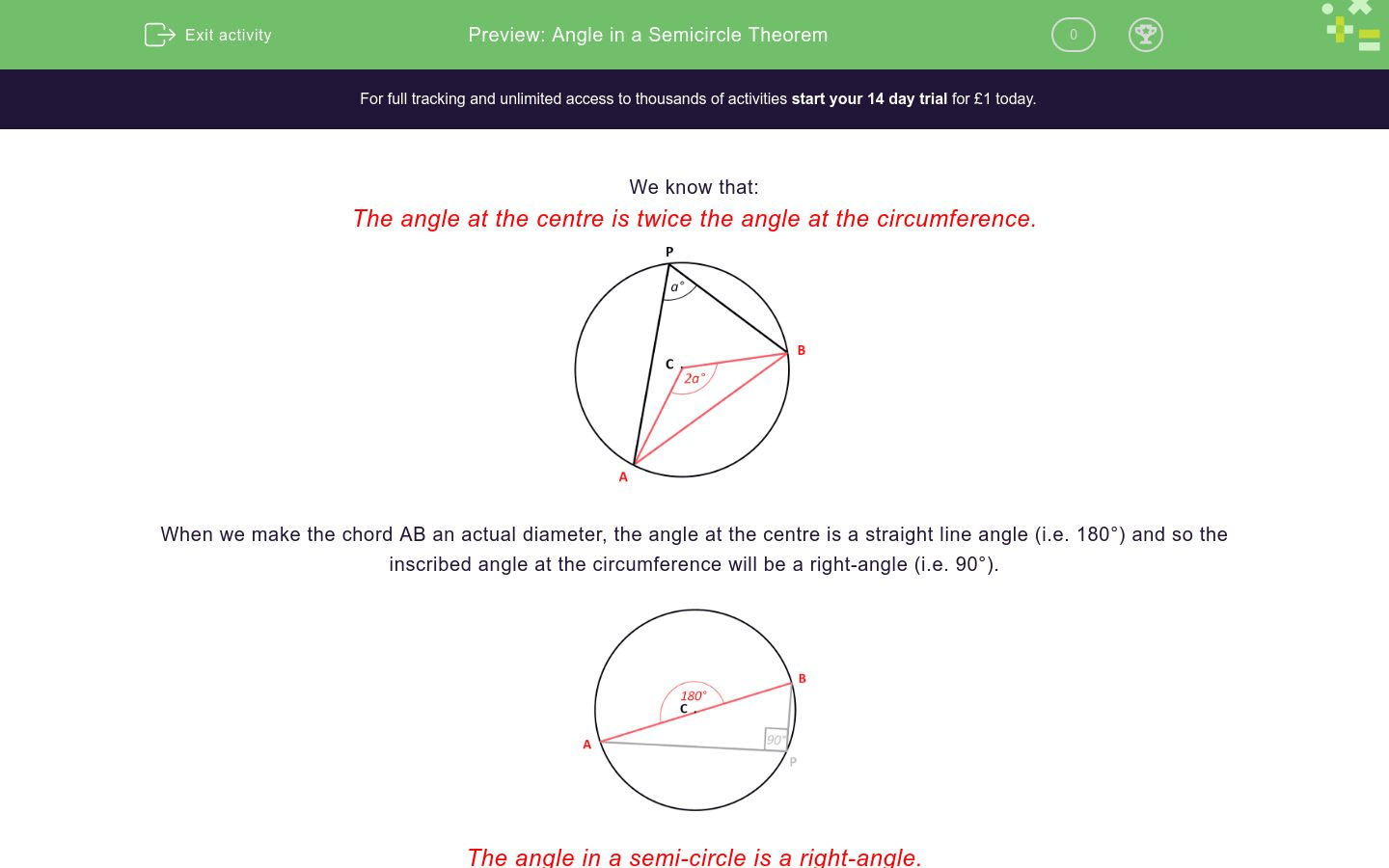 Angle In A Semicircle Theorem Worksheet