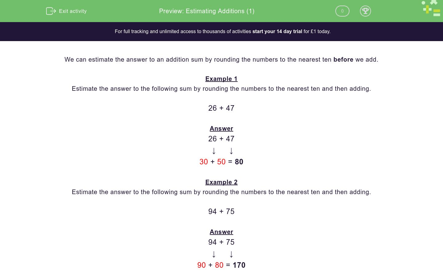 Estimating Additions 1 Worksheet