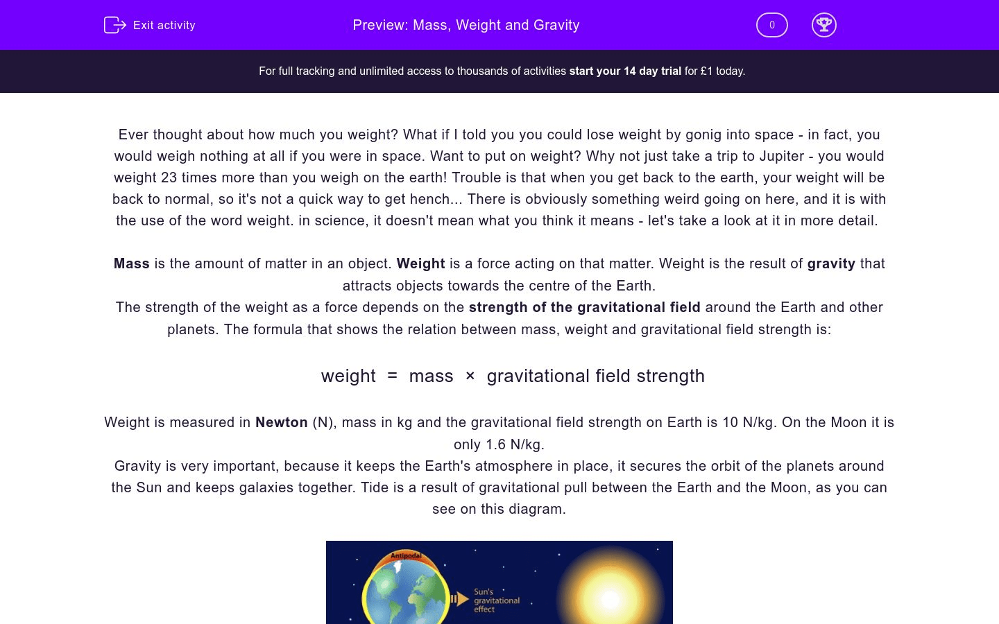 Mass Weight And Gravity Worksheet