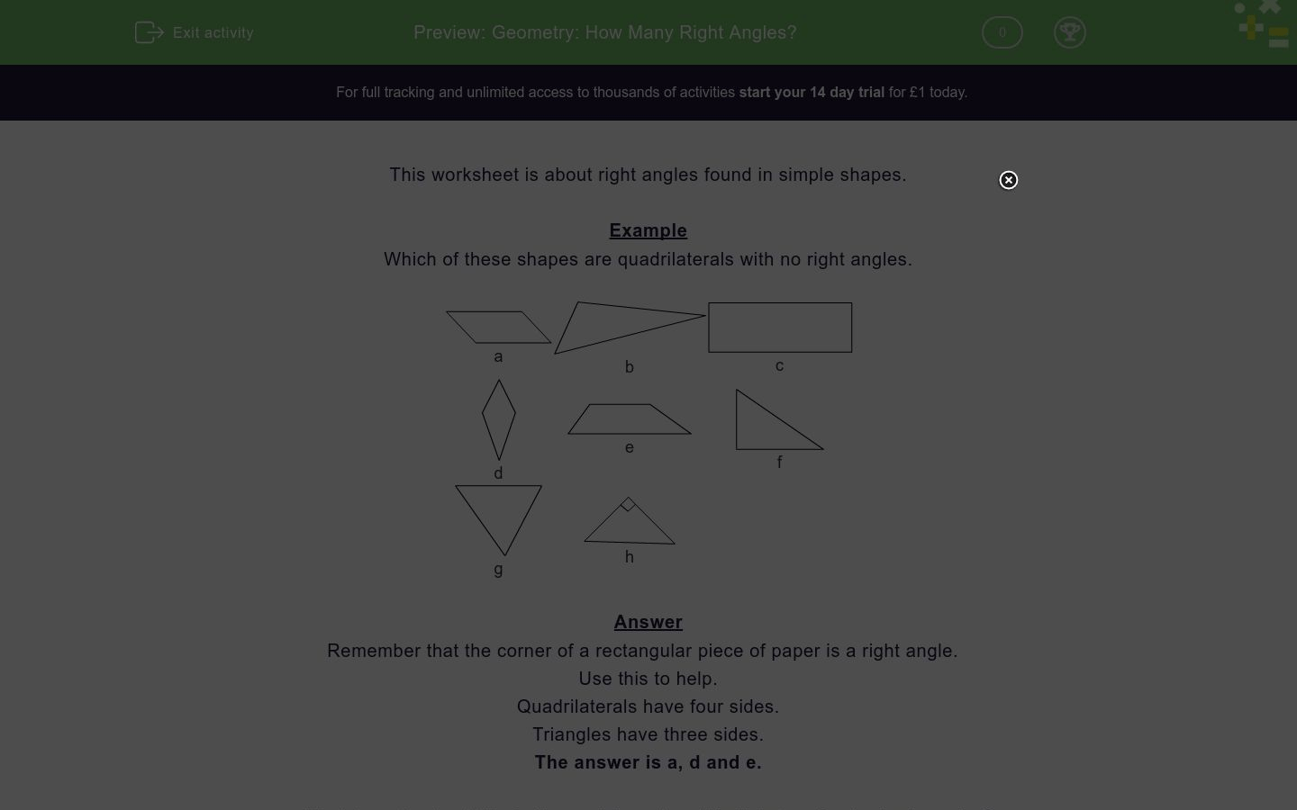 Geometry How Many Right Angles Worksheet