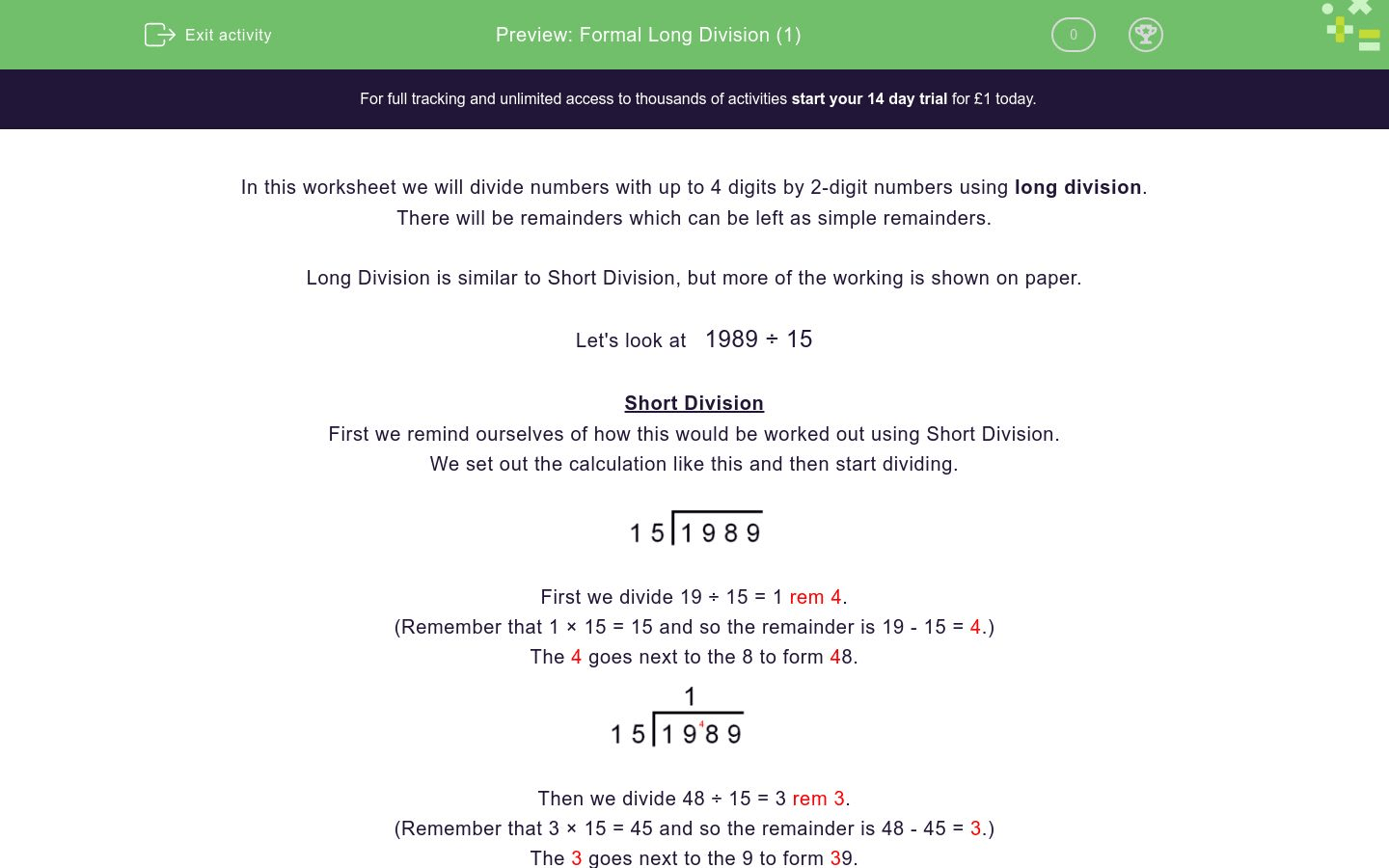 Formal Long Division 1 Worksheet
