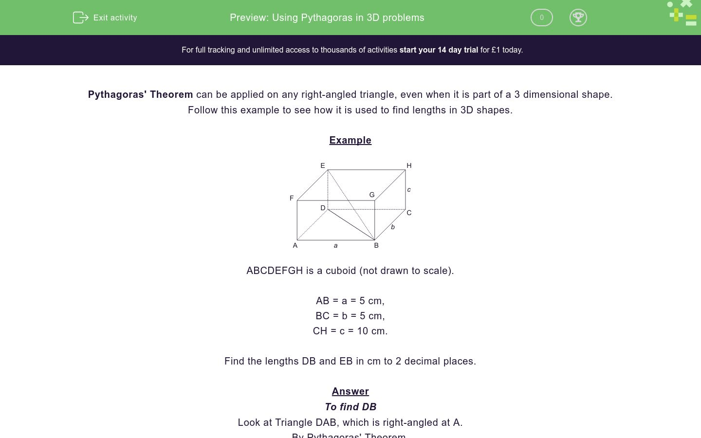 Using Pythagoras In 3d Problems Worksheet