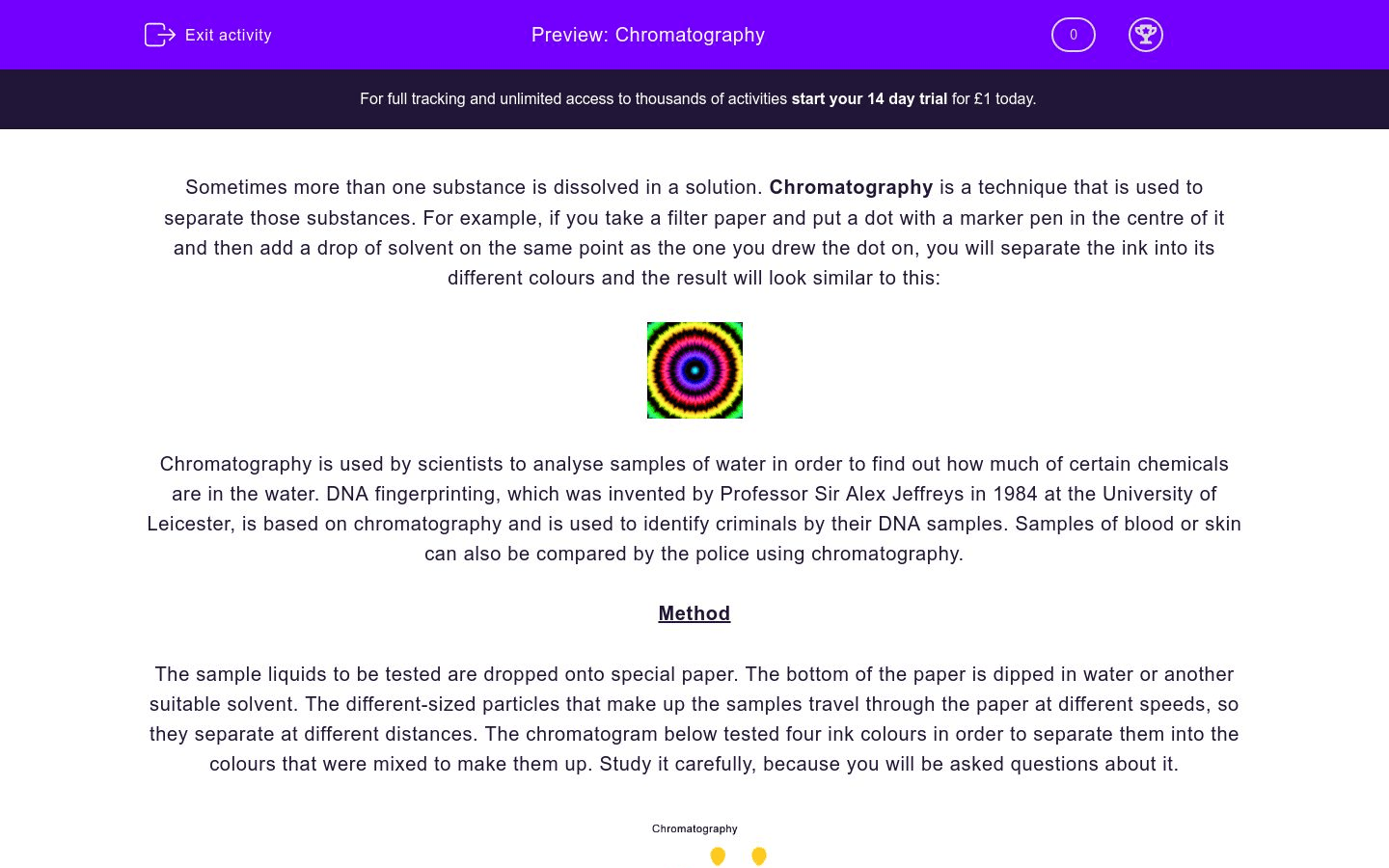 Chromatography Worksheet