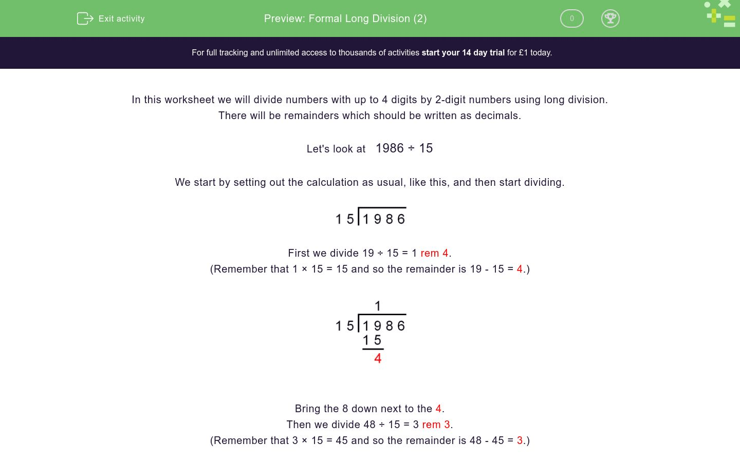 Formal Long Division 2 Worksheet
