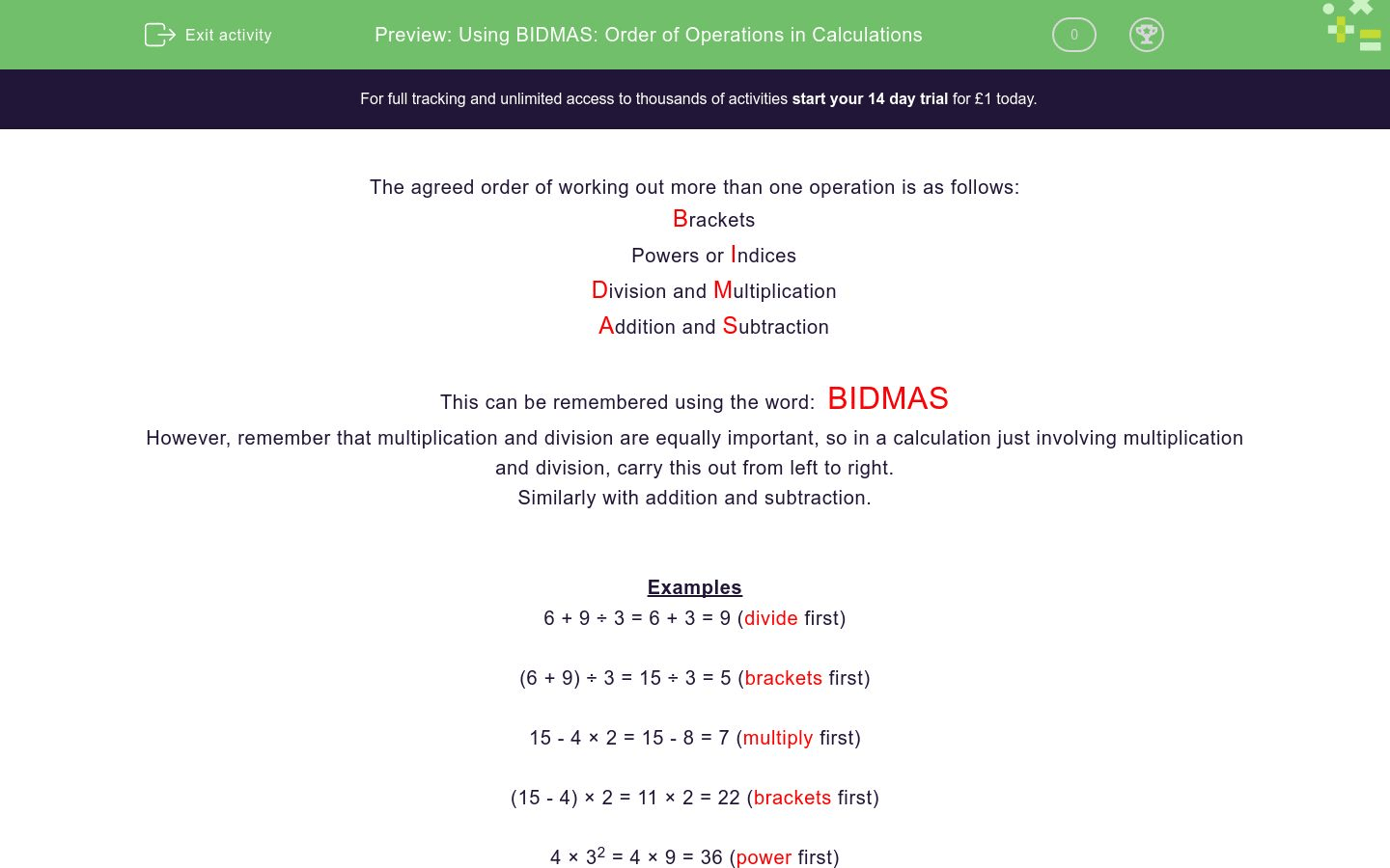 Using Bidmas Order Of Operations In Calculations Worksheet