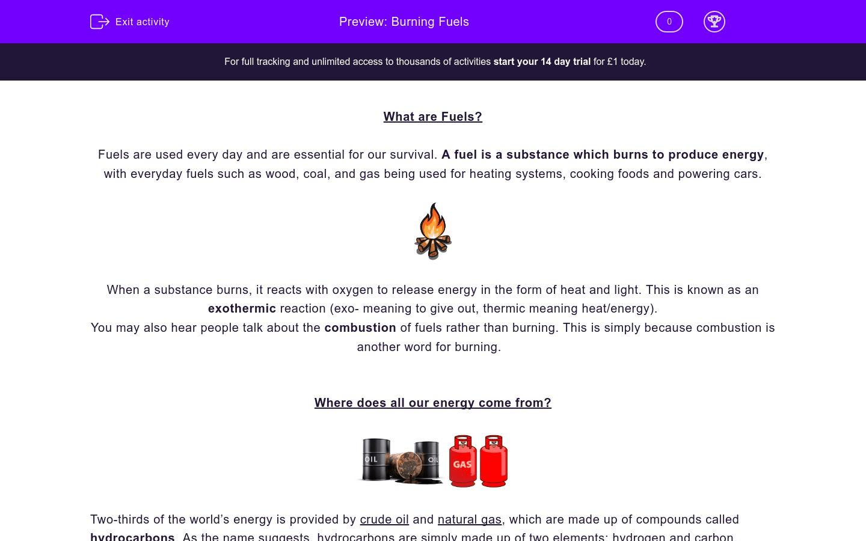 Burning Fuels Worksheet