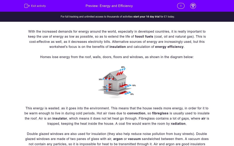 Energy And Efficiency Worksheet