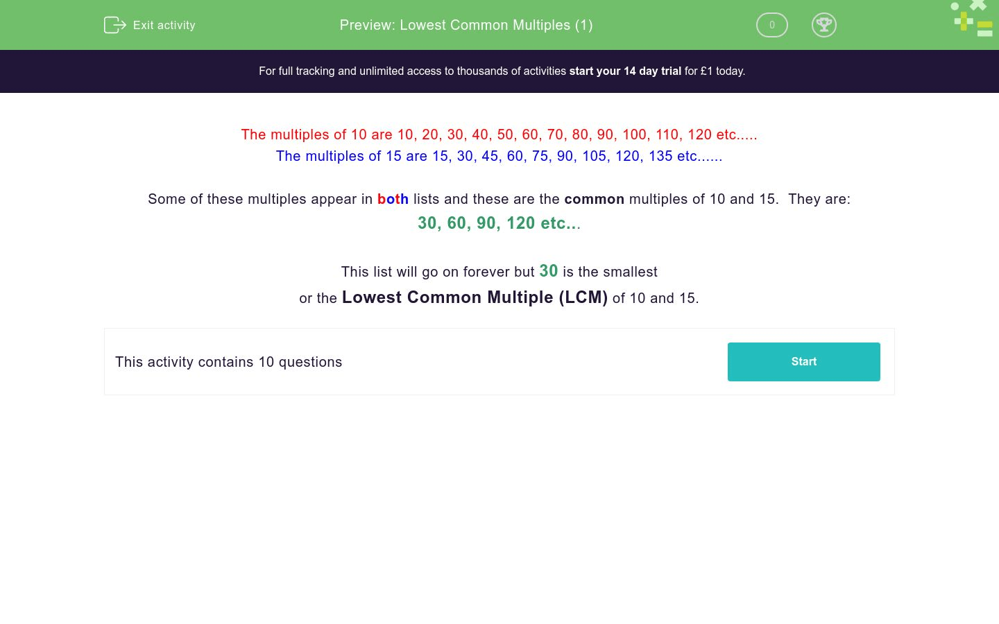 Lowest Common Multiples 1 Worksheet