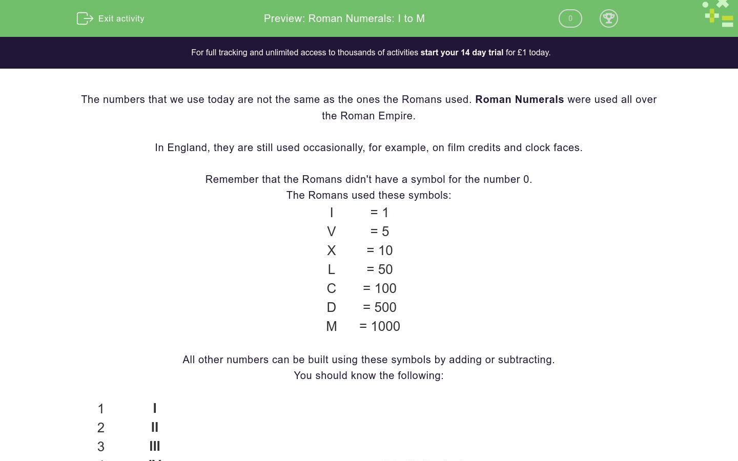 Roman Numerals I To M Worksheet