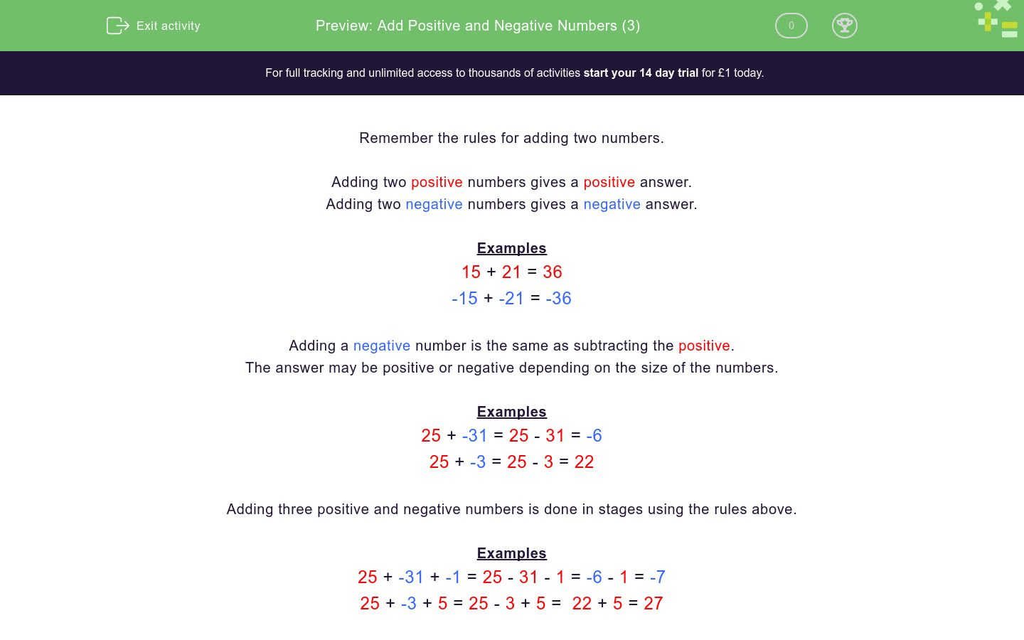 Add Positive And Negative Numbers 3 Worksheet