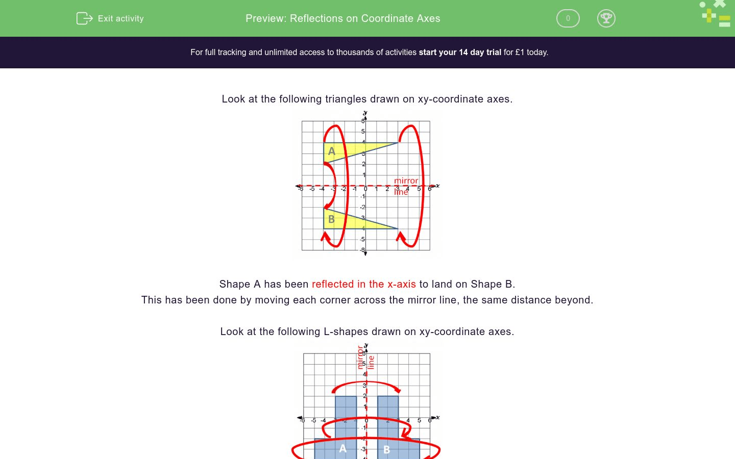 Reflections On Coordinate Axes Worksheet