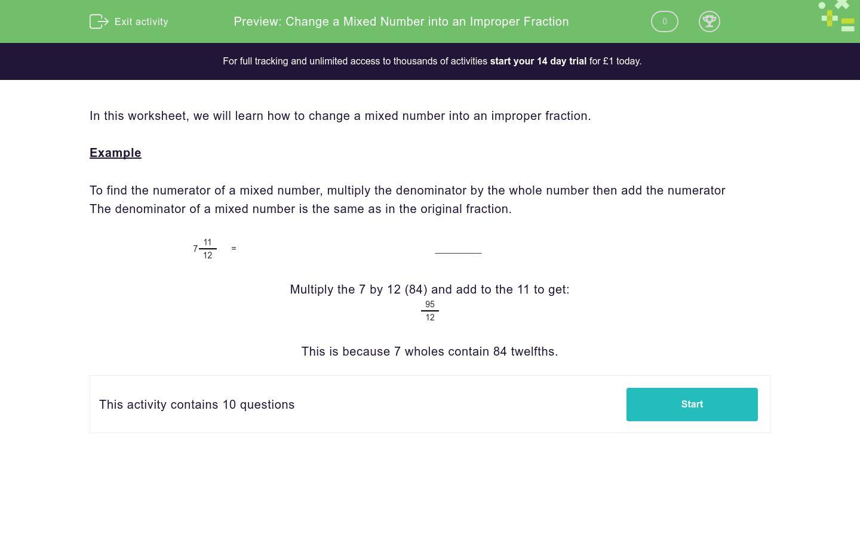 Change A Mixed Number Into An Improper Fraction Worksheet