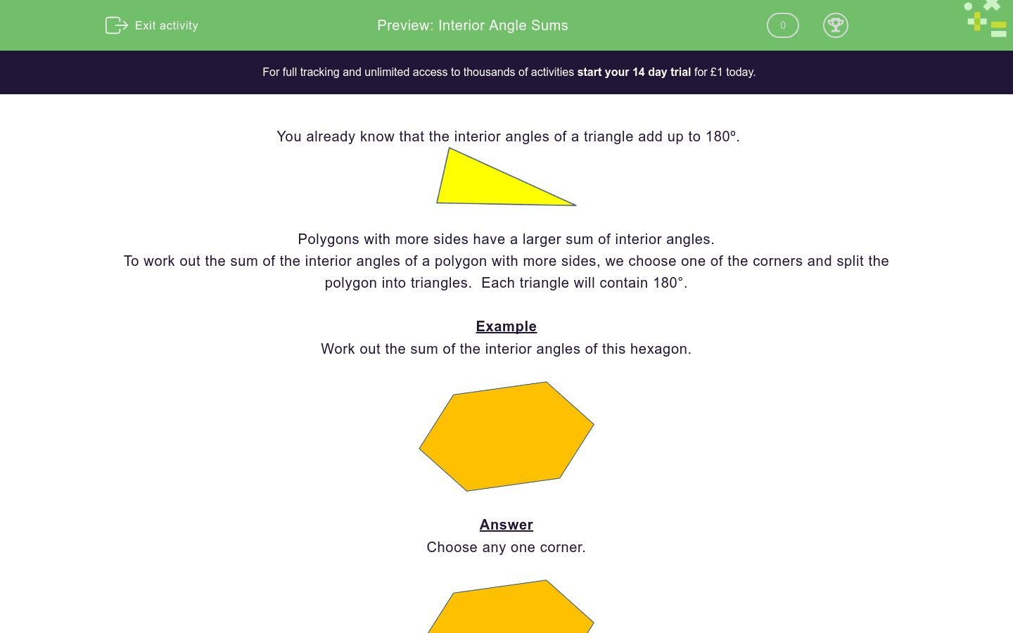 Interior Angle Sums Worksheet