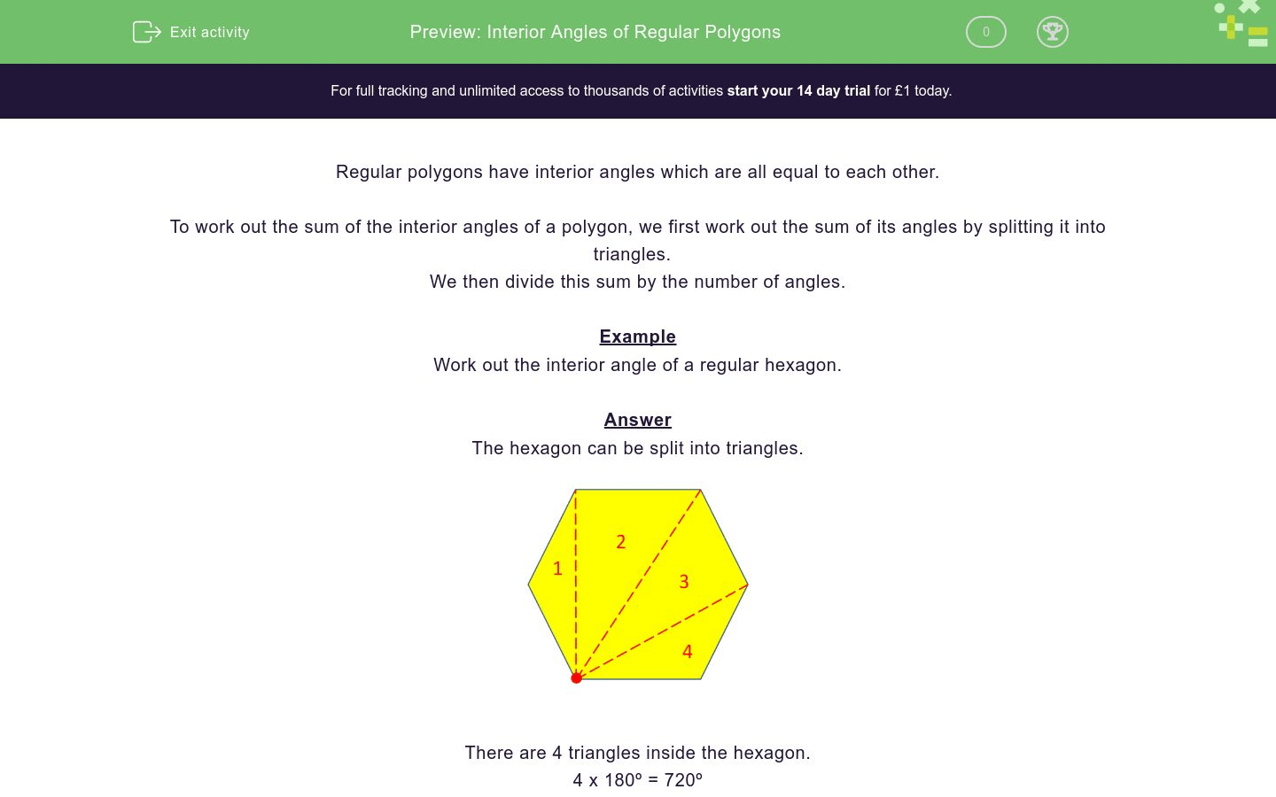 Interior Angles Of Regular Polygons Worksheet