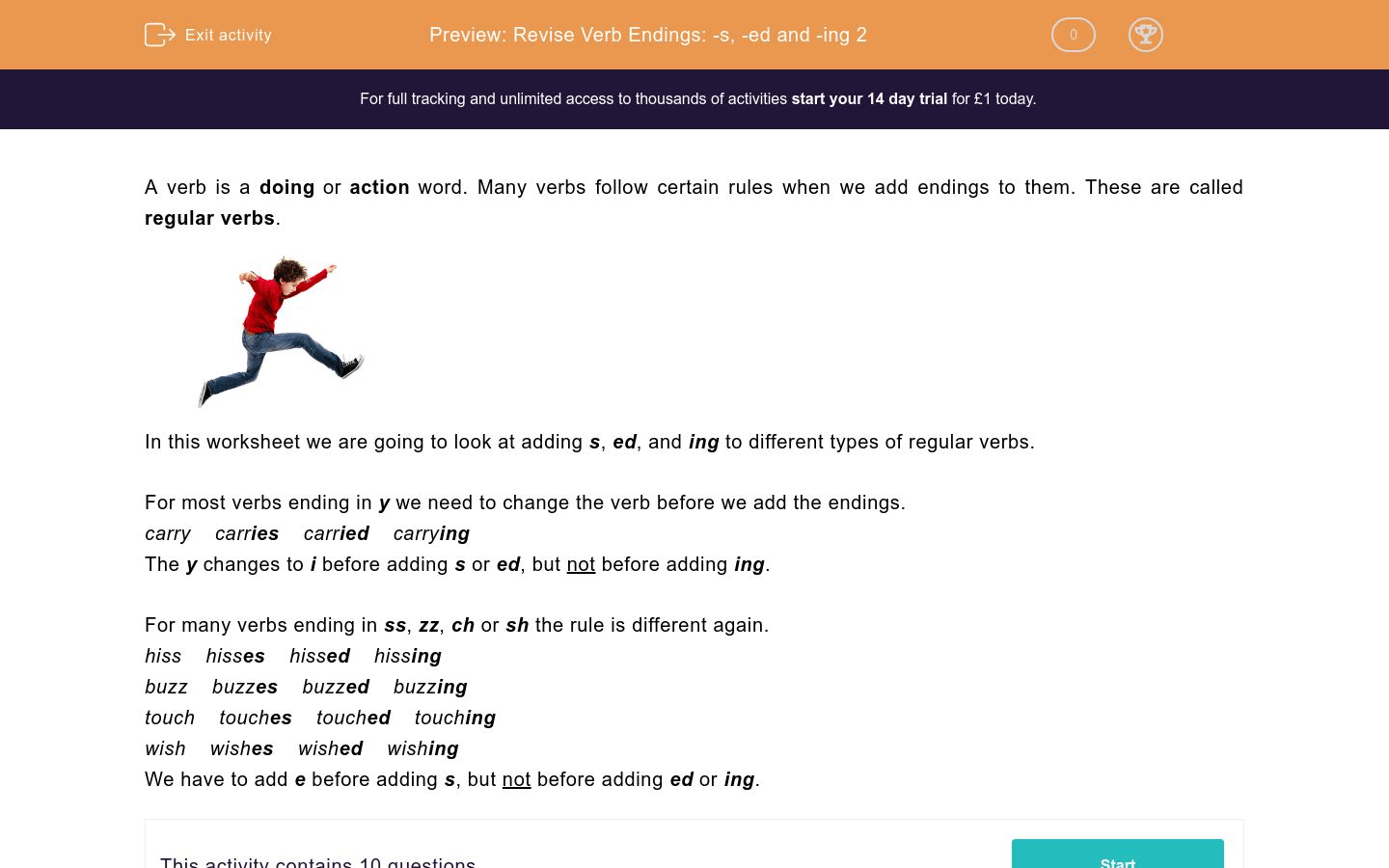 Revise Verb Endings S Ed And Ing 2 Worksheet